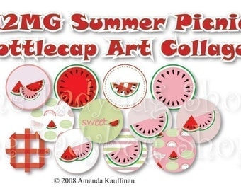 M2MG Summer Picnic 1 inch Bottle Cap Disc-Its Scrapbooking Boutique Digital Collage Art Sheet