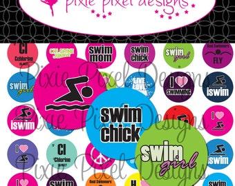 Instant Download - Swimming Bottlecap Images Bottle Cap Disc-Its Scrapbooking Boutique Digital Collage Art Sheet