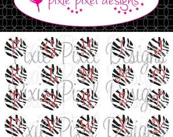 Red Zebra Alphabet Bottlecap Images Bottle Cap Disc-Its Scrapbooking Boutique Digital Collage Art Sheet
