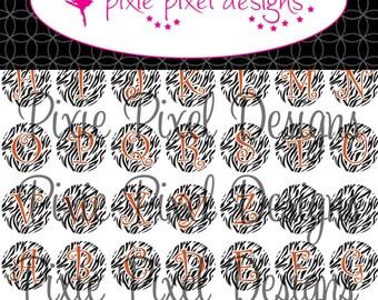 INSTANT DOWNLOAD - Orange Zebra Alphabet Bottlecap Images Bottle Cap Disc-Its Scrapbooking Boutique Digital Collage Art Sheet