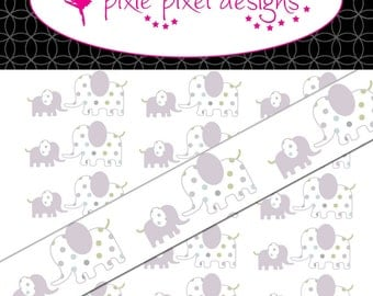 Instant Download - M2MG Polkadot elephant Print Your Own Ribbon Graphics