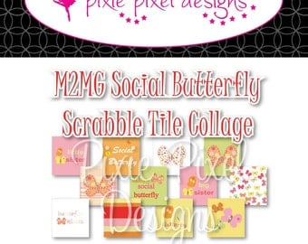 INSTANT DOWNLOAD - M2MG Social Butterfly Scrabble Tile Collage Sheet