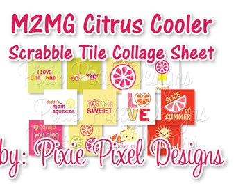 M2MG Citrus Cooler Scrabble Tile Collage Sheet