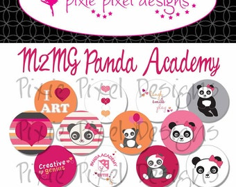 M2MG Panda Academy Bottle Cap Disc-Its Scrapbooking Boutique Digital Collage Art Sheet