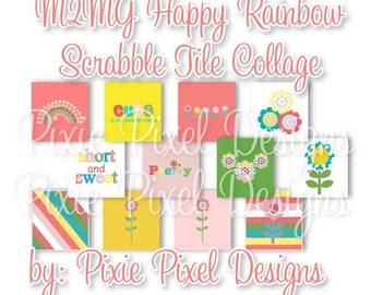 INSTANT DOWNLOAD - M2MG Happy Rainbow Scrabble Tile Collage Sheet