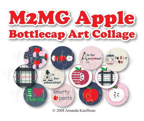 M2MG Apple  3/4 inch or 1 inch Bottle Cap Disc-Its Scrapbooking Boutique Digital Collage Art Sheet