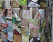 SOLD Magazine collaged, Roofing Paper Basket.  Recycled Item.
