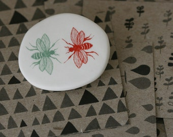 Wasps - sage and red - Porcelain Brooch