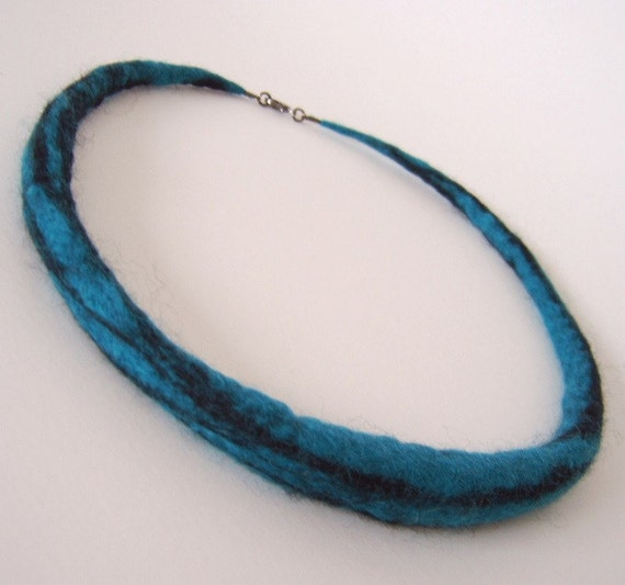 Teal blue necklace with black accents - felted all around