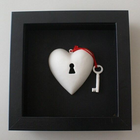 RESERVED - porcelain heart heirloom - framed heart-ART nr 8 - Textured love