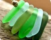 Top Drilled Sea Glass, 6 Pcs Charm Size