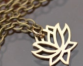Lotus Flower Necklace, pretty flower, gift for her