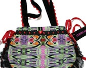 Graffiti Print Colourful Hand Bag Tote Black Lace - SALE