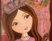 Princess Art- Princess Decor-  Mixed Media Print Whimsical Folk Art Pink Roses Shabby Cottage Decor 8x10