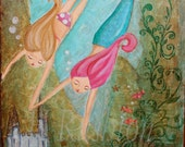 Mermaid Wall Art - Children Decor- 8 x 10 Print - hrushton