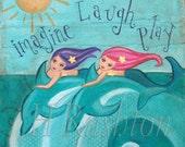 Mermaid and Dolphins Wall Art Print-Childrens Art - Beach Decor-Mermaid Art- Print sizes 8x10 or 5x7