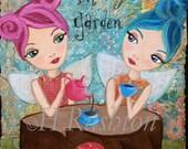 Children Decor -Fairy Art - Whimsical Mixed Media Art -Print Size 8 x 10 by HRushton