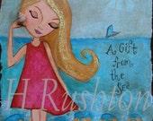 Beach Decor- Childrens Art-  Girls Room Decor - Mixed Media Art - Print Sizes 8 x 10  and 5x7 by HRushton