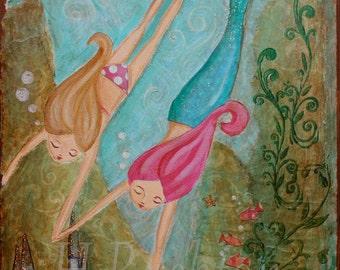 Mermaid Art Print- Childrens Mermaid Art -Kids Mermaid Decor- Mixed Media Art- Large Art Print 11x14 or 16x20