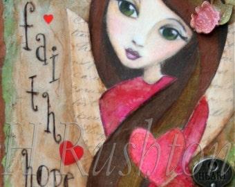 Faith Hope Love Angel Inspirational Art Mixed Media Art Print  5 x 10