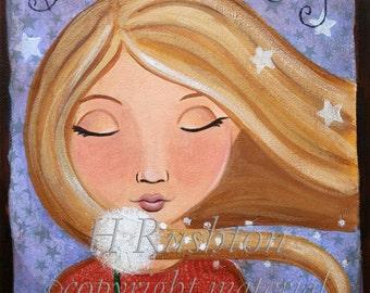 Children Decor ,Children's wall art, Dandelion Wishes,Girl's Room Decor, Mixed Media Art Print Size 8x10 by HRushton
