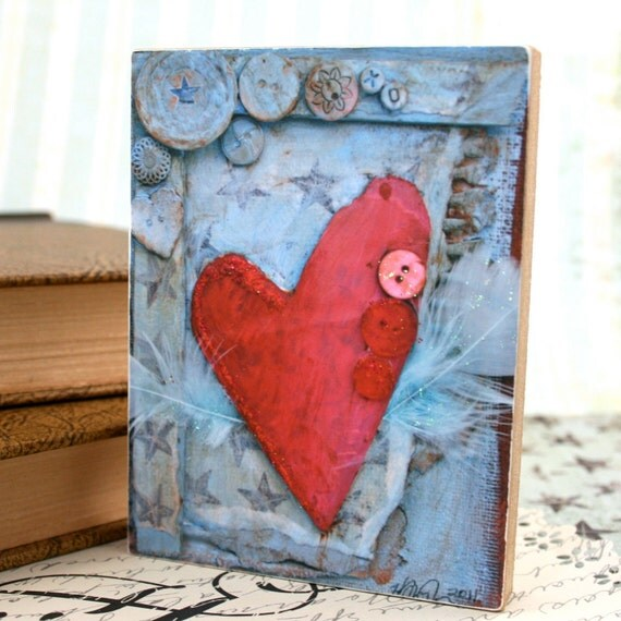 Valentine Heart Art Block - Mixed Media Print mounted on Wood-Red Heart with Wings-3 x 4