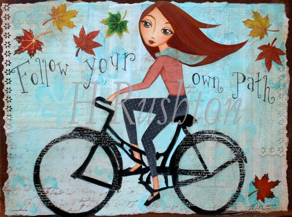 Bike Bicycle Art Inspirational Quotewall Art Fall Home - fall home decor quotes