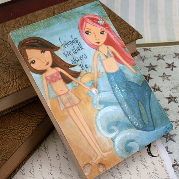 Children Art- Wooden Art Block Mermaid Mixed Media Art Childrens Art Beach Decor 5 x 7
