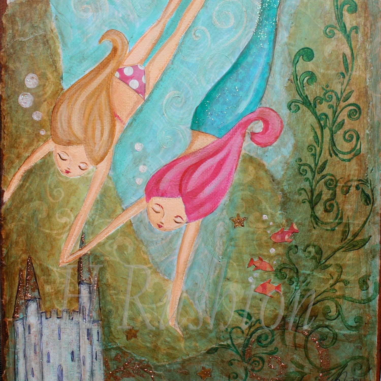 mermaid wall art kids art children decor mermaid decor. Black Bedroom Furniture Sets. Home Design Ideas