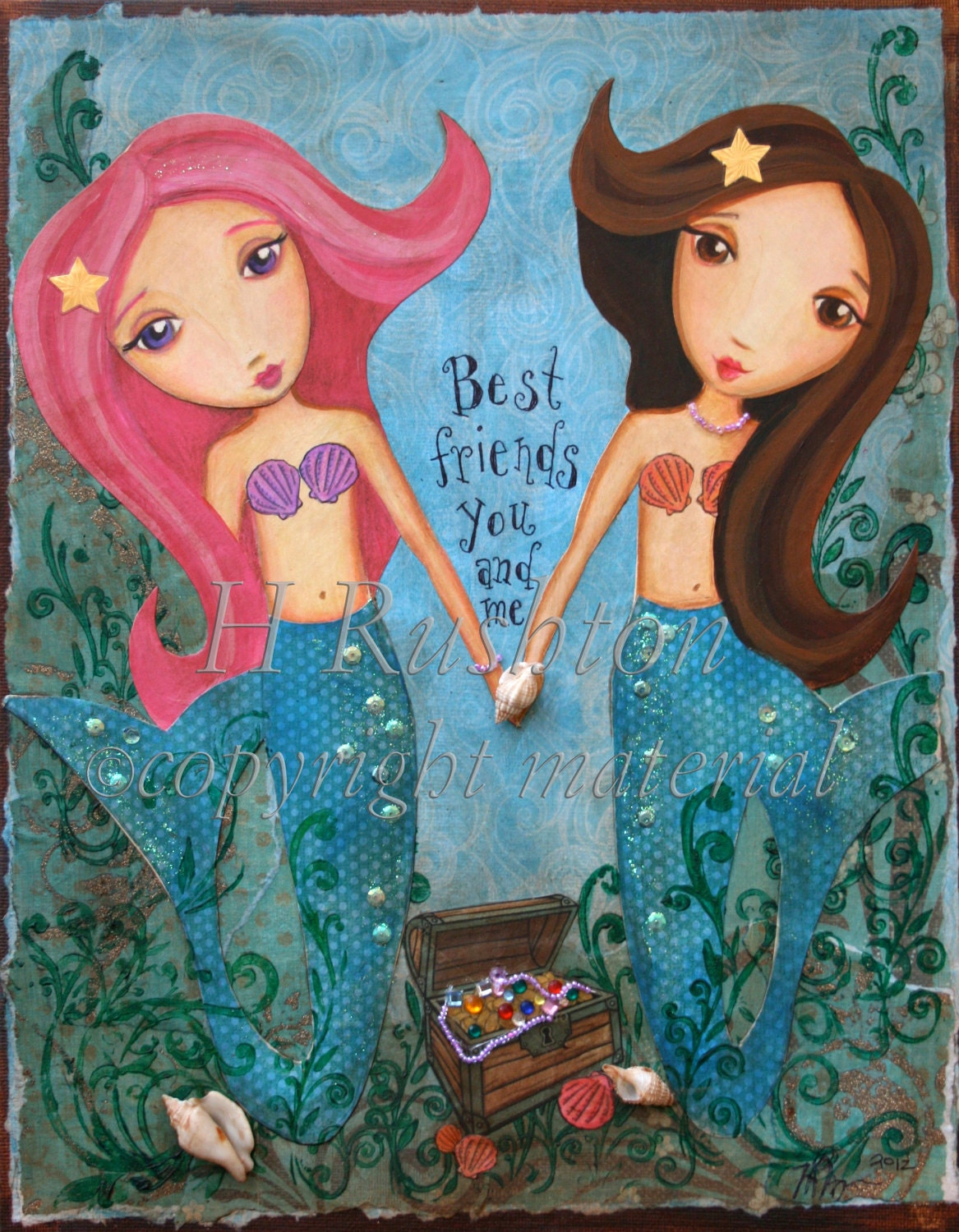 Mermaid Art Underwater Mermaid Friends Children by HRushtonArt