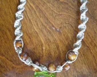 "Hemp Necklace with Wooden Beads and Frog """"SALE"""""