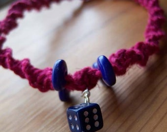 Pink and Blue Dice Choker