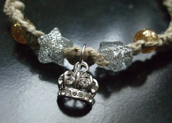 Sparkly Crown and Stars Necklace
