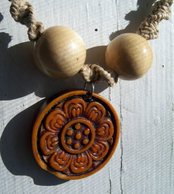 Natural Hemp with Floral Pendant