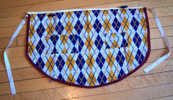Yellow and Blue Diamond Fold-Up Half-Apron