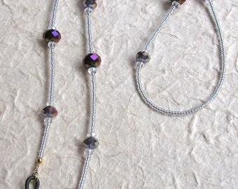 Eyeglass Chain/Leash with Purple Crystal Beads