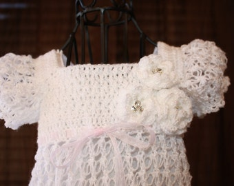 Ella - Ankle length / Blessing Dress / Christening Dress / Crochet Christening Gown / Baptism /  Confirmation / Christening Gown