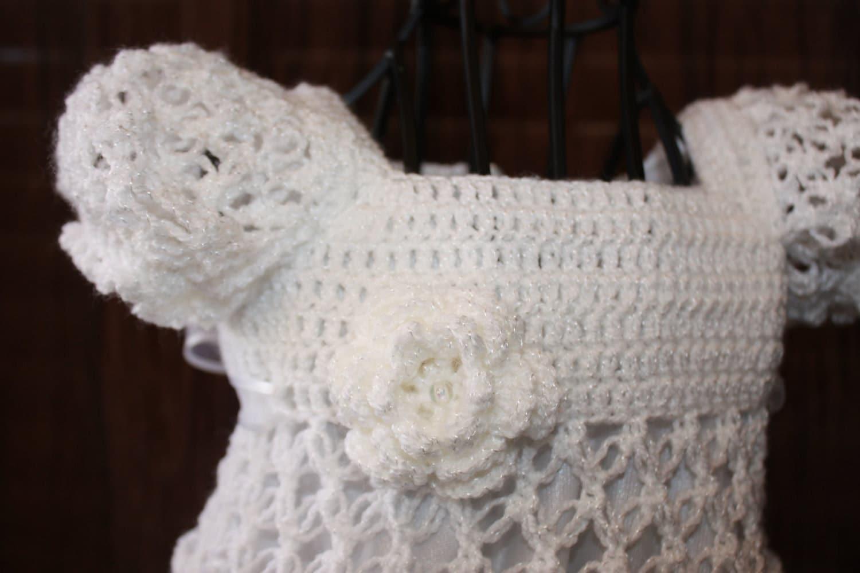 Free Crochet Patterns For Childrens Dresses : Kate / Crochet Christening Dress / Blessing Dress / Heirloom