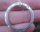 personalized sterling silver circle pendant . ((Mother in Any Language)) . custom stamped message . mother gift . sale priced until Feb 28th