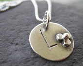sterling silver wildflower initial pendant or charm . (( Teen Tag )) . stamped monogram . cable chain included . made to order