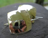 Hammered Squares Sterling Silver Earrings . with bent-post earwires . girlfriend gift . made to order