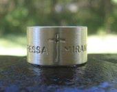 sterling silver cross insignia wide band . fathers band . personalized stamped names or words . fathers ring . husband ring