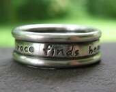 custom inscribed triple band ring in sterling silver . (( Embraced )) . your choice lowercase OR Caps font . made to order in your size