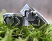 Modern Claddagh Band . rounded square band in sterling silver . oxidized/brushed finish . made to order in your size
