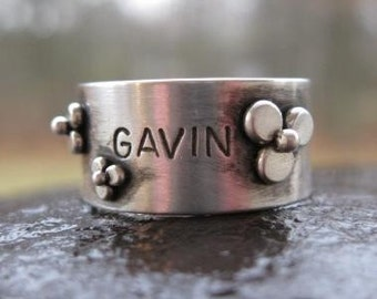 Personalized Stamped Sterling Silver Wildflower Wide Band . customized with a word or name . made to order in your size