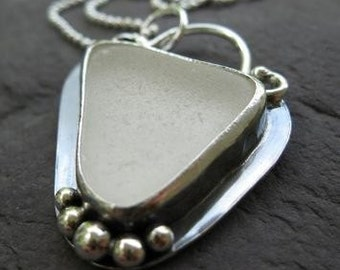 white sea glass and sterling silver pendant with chain . (( White Pearls )) . one of a kind . READY TO SHIP . price reduced