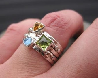 set of 5 sterling silver stacking rings . ((Spring Fever Skinny Ring Stack)) . citrine, peridot and swiss blue topaz . made in your size