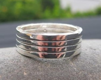 mans wedding band or everyday band . thick sterling silver mans ring . (( Quad )) . custom made to order in your size