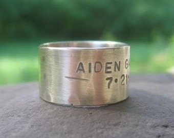 Rustic Stamped Wide Silver Band . sterling silver with weather-worn finish . inside or outside custom inscription . made to order