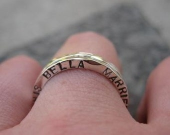 Two Personalized Sterling Silver Stacking Rings . (( Double-Take )) . inscribed with your custom words . made to order
